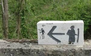 Via Francigena cartoon sign