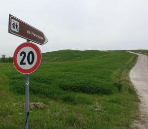 Via Francigena speed limit sign