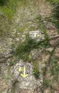 Via Francigena two rock sign