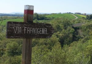 Via Francigena written sign