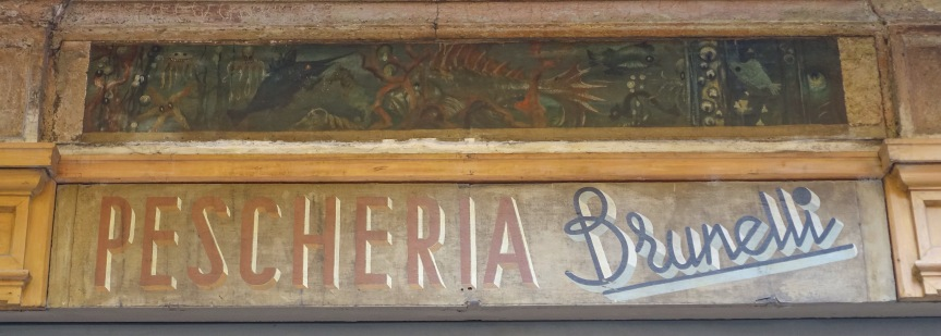 Pescheria Brunelli shop sign Bologna Italy