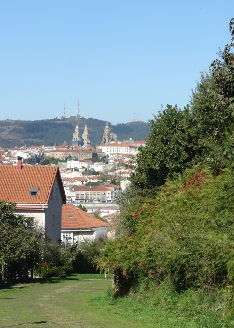View of Santiago cathedral from distance Camino Sanabrés