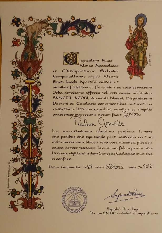 Compostela Certificate Bid de la Plata Camino Sanabrés
