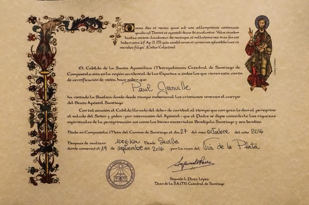 Distance Certificate Via de la Plata Camino Sanabrés